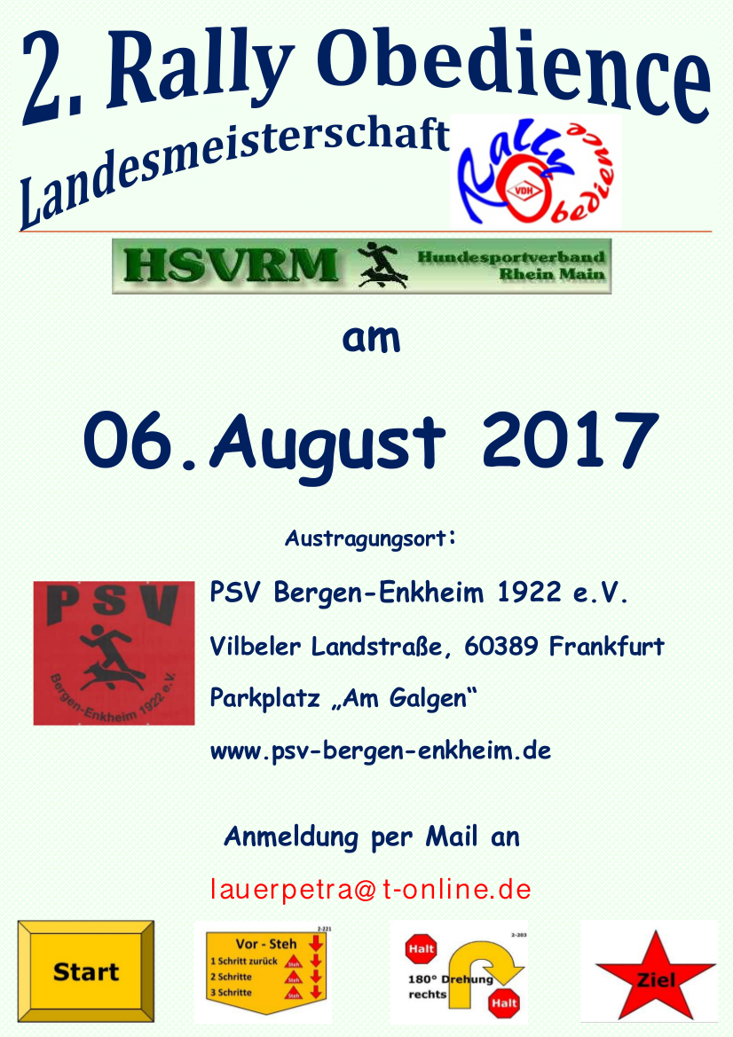 Plakat der 2. Rally Obedience Landesmeisterschaft am 06. August 2017