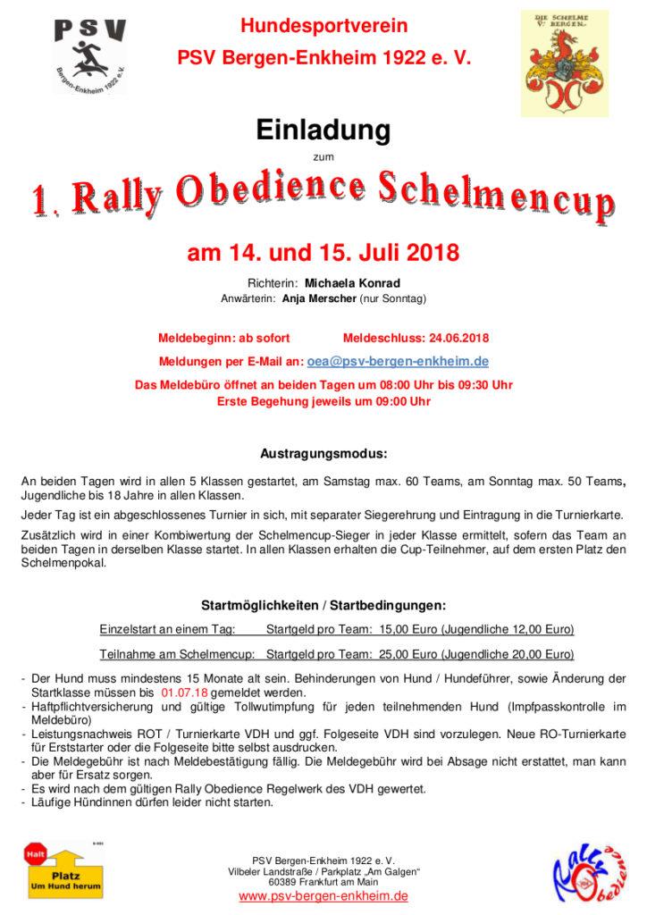Einladung zum Schelmencup 14+15 Juli 2018
